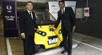 M Gandhi, right, managing director of UBM Asia (Thailand), and Yossapong Laoonual, president of the Electric Vehicle Association of Thailand.