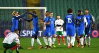 France's players celebrate after victory in the FIFA World Cup 2018 qualifying football match between Bulgaria and France at The Vasil Levski Stadium in Sofia on October 7, 2017. / AFP PHOTO