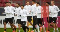 Members of the German national football team, run during a training session on October 7, 2017 in Mainz, western Germany.