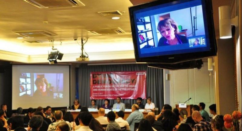 Dr. Agnes Callamard, United Nations Special Rapporteur on Extra-Judicial Summary, or Arbitrary Execution, participated live via Skype in the Dying Democracy: A Public Forum on the War on Drugs and Human Rights in the Philippines last October 5.