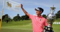 Sadom Kaewkanjana has the trophy but no prize-money after winning the Pattaya Open yesterday.