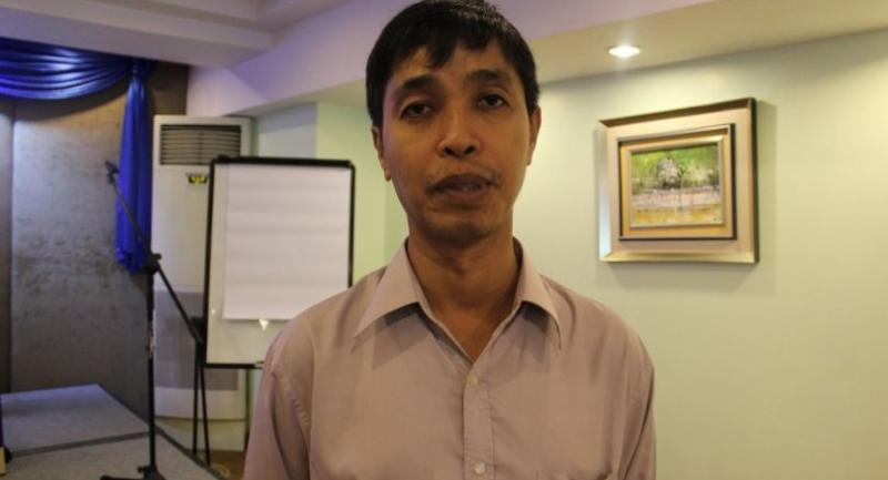 Soe Shwe, coordinator of Myanmar SEZs Watch, on the sidelines of the report launch on October 20.