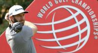 World number one Dustin Johnson tees off during the second round of the WGC-HSBC Champions at the Sheshan International golf club in Shanghai.  / AFP PHOTO / GOH CHAI HIN