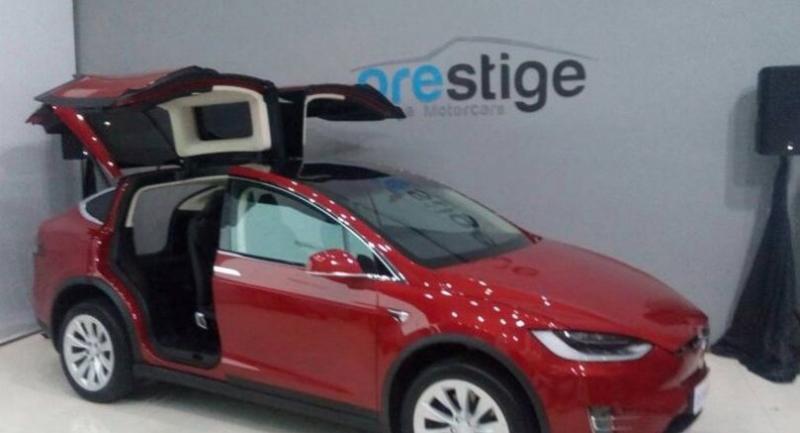 A US-made Tesla Model X electric car showcased at a Prestige Image Motorcars' showroom in Pluit, North Jakarta, on June 7. (JP/dis)