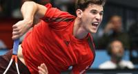 Austria's Dominic Thiem plays against Andrey Rublev of Russia in their first round match of men's singles during the ATP tournament in Vienna, Austria,on October 24, 2017. / AFP PHOTO