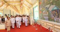 HRH Princess Maha Chakri Sirindhorn presides yesterday over the opening of the Royal Crematorium exhibition, where she viewed a mural depicting royal projects initiated by her father, HM the King Bhumibol Adulyadej. Nation/Tanachai Pramarnpanich