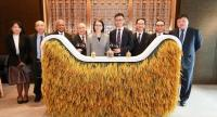Deputy Agriculture and Cooperatives Minister Chutima Bunyapraphatsorn and Jet Jing, vice president of Alibaba Group, attend the MoU signing between Tmall and Asia Golden Rice, owner of the Benjarong brand, at Alibaba Group's corporate campus