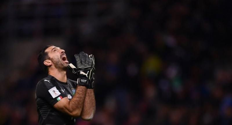 Italy's goalkeeper Gianluigi Buffon reacts during the FIFA World Cup 2018 qualification football match between Italy and Sweden, on November 13 at the San Siro stadium in Milan.//AFP