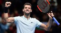 Bulgaria's Grigor Dmitrov reacts after winning against Belgium's David Goffin during their men's singles round-robin match on day four of the ATP World Tour Finals tennis tournament at the O2 Arena in London on November 15, 2017.