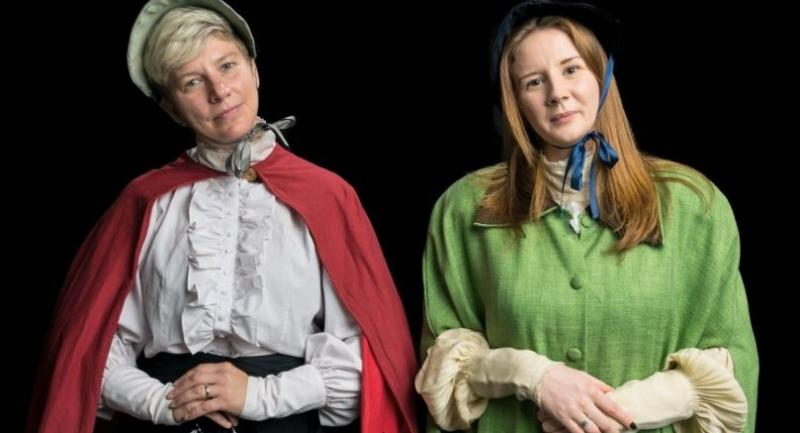 Rebecca Shatford and Hannah Davis play two gentlewomen who make the mistake of asking Scrooge for money to give to the poor.