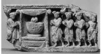 A depiction of devotees worshiping the bowl, Gandhara 4th century CE