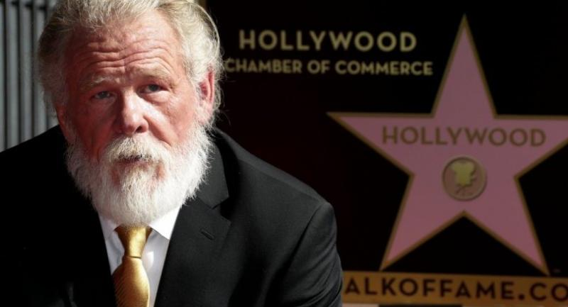 US actor Nick Nolte poses with his star on the Hollywood Walk of Fame during ceremony in Hollywood, California, USA 20 November 2017. // EPA-EFE