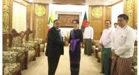Bangladesh Foreign Minister AH Mahmood Ali meets with Myanmar's State Counsellor Aung San Suu Kyi at Suu Kyi's office on November 23, 2017.