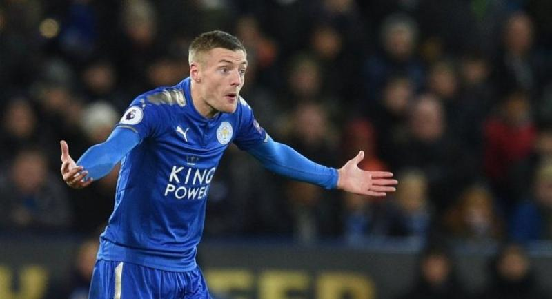 Leicester City's English striker Jamie Vardy gestures during the English Premier League football match between Leicester City and Tottenham Hotspur at King Power Stadium in Leicester.