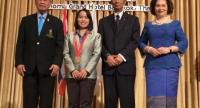 Pensiri Laosirikul , 2nd from left, during the medal presentation at Anoma Grand Bangkok Hotel yesterday.