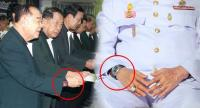 Deputy PM and Defence Minister General Prawit Wongsuwan is seen wearing what look like different models of multimillion-baht Richard Mille watches on two separate occasions.
