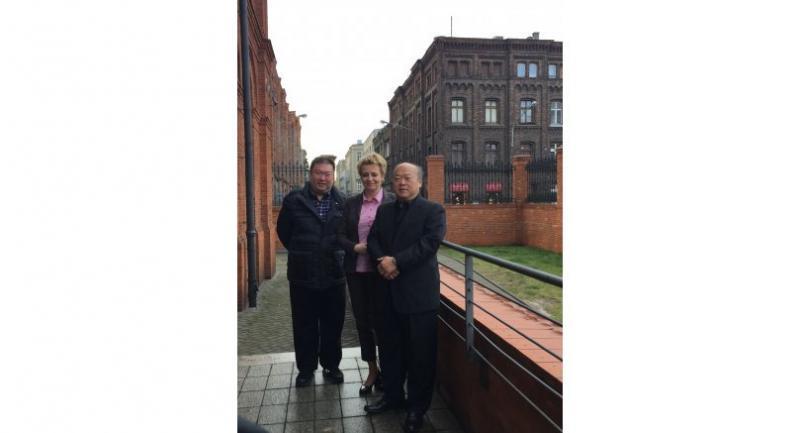 Hanna Zdanowska, mayor of Lodz, Poland (centre) chats with BTS Group Holdings Plc's chairman Keeree Kanjanapas (right) and the group's CEO Kavin Kanjanapas at Vienna House Andel's Lodz in Poland. The hotel is part of the Vienna House Group and owned