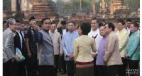 PM Prayut and his Cabinet members at Sukhothai Historical Park before the Cabinet meeting on Tuesday.