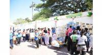 Booths were set up at the launch for students to participate in activities related to disaster preparedness.