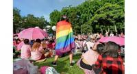 Gay rights:A supporter wrapped in a rainbow flag attends the annual./ AFP