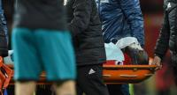 Manchester United's Belgian striker Romelu Lukaku is taken off on a stretcher after appearing to pick up a head injury during the English Premier League football match between Manchester United and Southampton at Old Trafford.