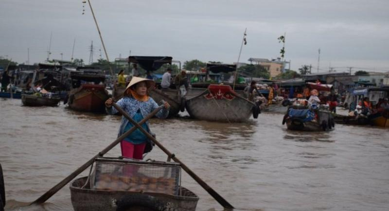 Can Tho's Cai Rang floating market in the Mekong Delta suffers severe environmental impacts from upstream development projects.