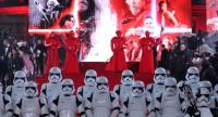 This file photo taken on December 12, 2017 shows Stormtrooopers and Praetorian guards posing on the red carpet for the European Premiere of