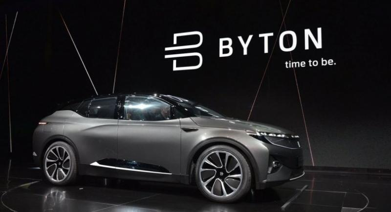 The Byton connected car is seen during its launch at CES 2018 in Las Vegas on January 7, 2018. / AFP PHOTO