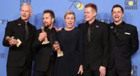"""From left: Martin McDonagh, Sam Rockwell, Frances McDormand, Graham Broadbent and Peter Czernin pose with the award for Best Motion Picture  Drama for """"Three Billboards Outside Ebbing, Missouri""""./AFP photo"""