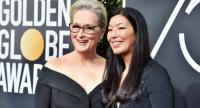Meryl Streep, left, and NDWA Director Aijen Poo attend the 75th Annual Golden Globe Awards at The Beverly Hilton Hotel on Sunday night./AFP photo