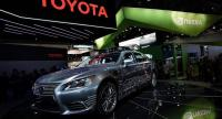 The Platform 3.0 automated driving research vehicle, which is built on a Lexus LS 600hL by Toyota Research Institute, is on display during CES 2018. AFP