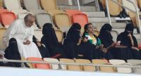 Female Saudi supporters of Al-Ahli attend their teams football match against Al-Batin in the Saudi Pro League at the King Abdullah Sports City in Jeddah on January 12.//AFP