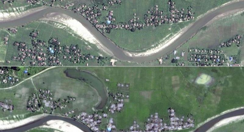 This combination of handout photos created on December 18, 2017 courtesy of Human Rights Watch/DigitalGlobe shows an analysis of satellite imagery revealing new destruction of Rohingya villages during October and November 2017./AFP