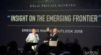 "Mark Mobius, executive chairman of Templeton Emerging Markets Group, talks with Suthichai Yoon, co-founder of The Nation on the topic of ""Insights on the Emerging Frontier"" at Emerging Market Outlook 2018, hosted by KBank Private Banking."