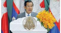 Hun Sen gives a speech in Phnom Penh yesterday in which pledged the 2018 elections will go forward 'no matter what//Facebook