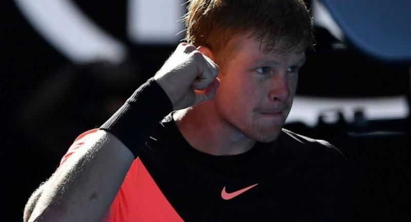 Britain's Kyle Edmund celebrates beating Bulgaria's Grigor Dimitrov in their men's singles quarter-finals.