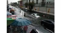 The road beside Central Ban Na shopping mall is heavily flooded Wednesday morning.