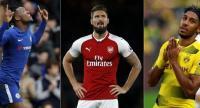 Dortmund's Gabonese striker Pierre-Emerick Aubameyang,  Arsenal's French striker Olivier Giroud and Chelsea's Belgian striker Michy Batshuayi.