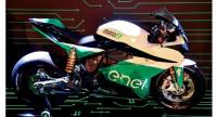 A picture taken on February 6, 2018 shows details of the Moto-e motorbike during the FIM Enel Moto-e World Cup lunch event in Rome.
