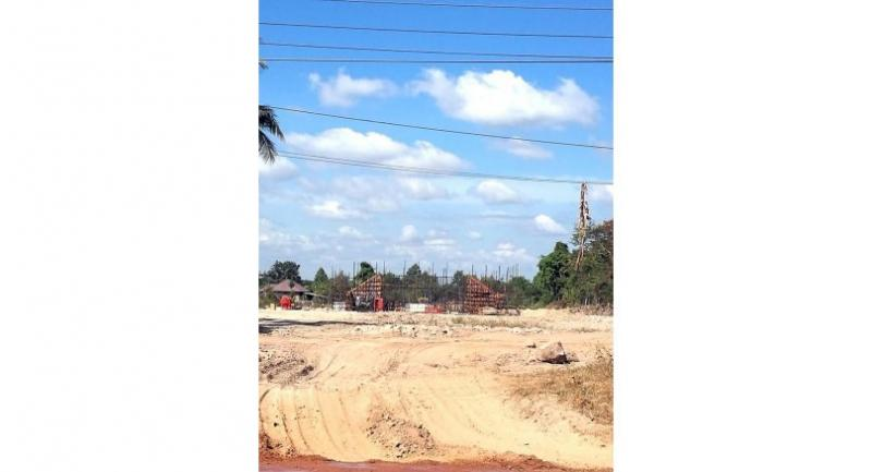 The railway under construction in Xaythany district, Vientiane.