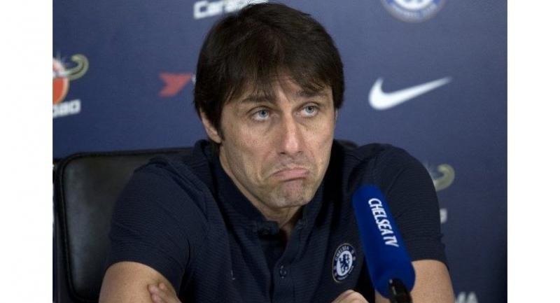 Chelsea's Italian head coach Antonio Conte gives a press conference at Chelsea's Cobham training facility in Stoke D'Abernon.