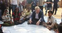 British Foreign Secretary Boris Johnson (C) meets with Rohingya refugees at a camp in Bangladesh's Cox's Bazar district on February 10.//AFP
