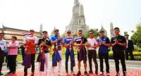 MotoGP racers at the Temple of Dawn .