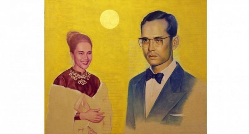"Among the highlights is Chatchai Puipia's 2018 oil painting ""Kaewta Kwanjai"" depicting the late King Bhumibol Adulyadej (King Rama IX) and HM Queen Sirikit of King Rama IX which is set at Bt400,000."