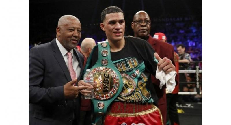 WBC super middleweight champion David Benavidez poses with his title belt after defeating Ronald Gavril at the Mandalay Bay Events Center on February 17, 2018 in Las Vegas.