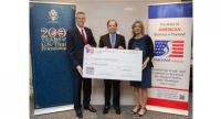 From left: Jeffrey Nygaard, AmCham president and executive vice president of global operations, Seagate; US ambassador Glyn Davies; and Judy Benn, AmCham executive director.