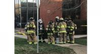 First responders gather at a US base near Washington on Feb. 27, where an envelope containing unknown substance sickens 11 people, including military personnel. (The Jakarta Post/Twitter)