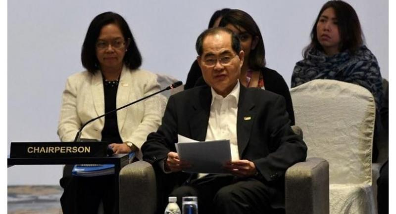 Singapore Minister for Trade and Industry Lim Hng Kiang (front) delivers his opening address at the 24th ASEAN Economic Ministers' Retreat in Singapore on March 1, 2018. (AFP)