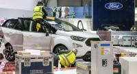 Representatives of the Ford booth clean a car during the last preparations prior opening of the press preview days at the 88th Geneva International Motor Show, in Geneva, Switzerland, 03 March 2018. // EPA-EFE PHOTO
