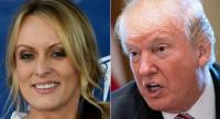 This combination of file pictures created on February 14, 2018 shows a file photo of adult film actress/director Stormy Daniels and US President Donald Trump.//AFP
